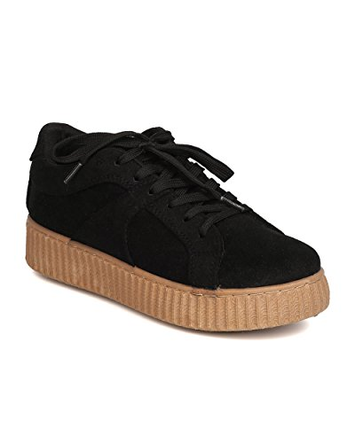 Qupid Sneaker Flatform In Pelle Scamosciata Effetto Faux - Casual, Lounging, Urban Fashion - Sneaker In Pelle Scamosciata Creeper Gb86 By Black