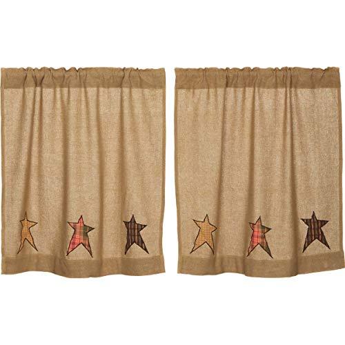 VHC Brands Primitive Kitchen Curtains Sutton Rod Pocket Appliqued Cotton Burlap Star 36x36 Tier Pair, Natural Tan