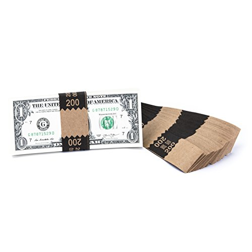 Natural Kraft Saw-Tooth $200 Currency Band Bundles (1000 Bands)