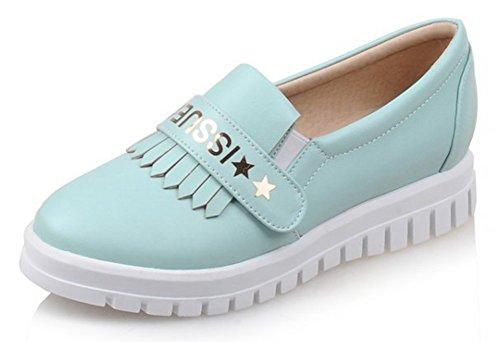 Sfnld Mujeres Trendy Round Toe Low Cut Plataforma Fringe Slip On Mocasines Zapatos Azul