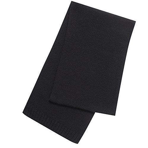 Pure Cashmere Plain Scarf Made in Scotland (Black (7)) by ScotlandShop