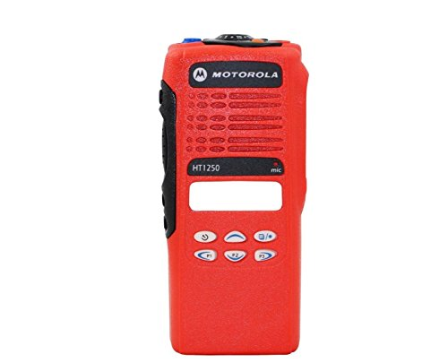Red Front Housing Replacement For Motorola Ht1250 Two Way Radio Walkie Talkie Case Replacement Refurbish Refurb Kit With Buttons Channel Selector Ptt Button Stickers