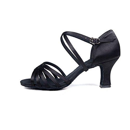 YFF Womens Ballroom Latin Tango Schuhe hochhackige Verkauf Pu/Satin Black
