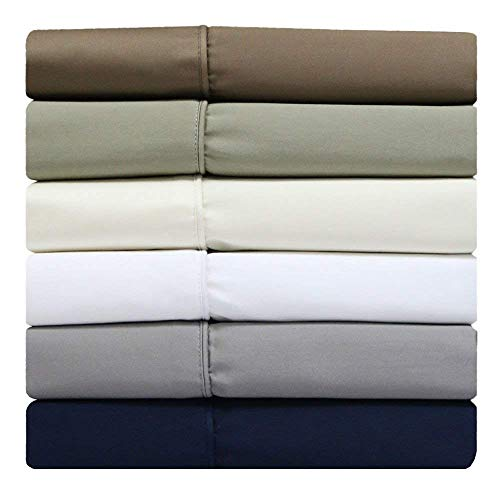 (PS Linen Solid Sage Split-Top -King: Adjustable King Bed Size Sheets, 4PC Bed Sheet Set, 100% Egyptian Cotton, 800 Thread Count, Sateen Solid, 15 inch Deep Pocket)