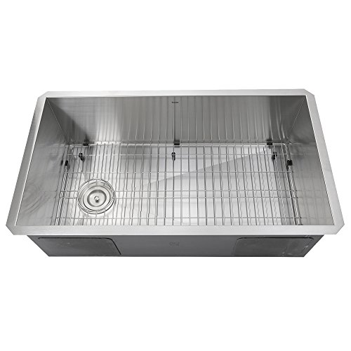 Nantucket Sinks ZR3218-OSD 32-Inch Pro Series Single Bowl Undermount Kitchen Sink with Offset Drain, Stainless Steel