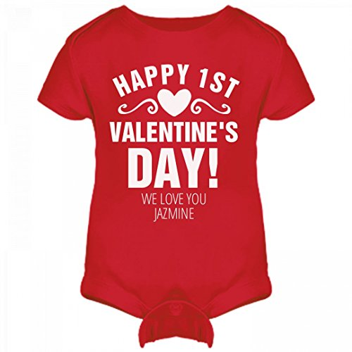 FUNNYSHIRTS.ORG Happy 1st Valentine's Day Jazmine Outfit: Infant Rabbit Skins Lap Shoulder Creeper (Jazmine Outfit)