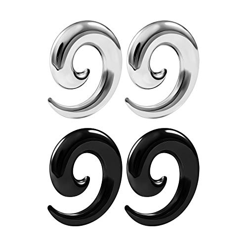 BIG GAUGES 2 Pairs Surgical Steel Spiral Black Anodized 0g Gauge 8mm Taper Expander Piercing Stretcher Ear Over Hollow Plugs BG6232