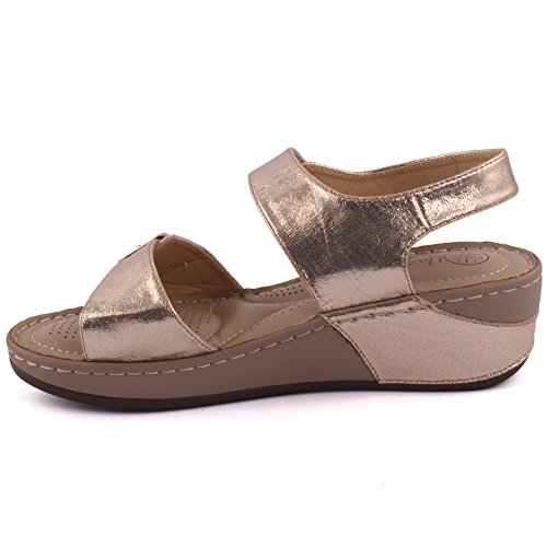 Unze Zapatos cómodos de las sandalias del verano de las mujeres calientes de las nuevas señoras Calie 'Tamaño 3-8 Gold