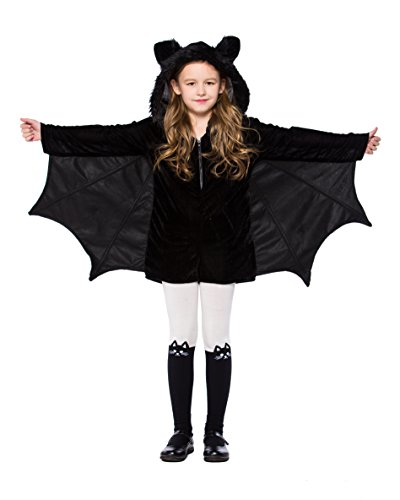 yolsun Girls' Vampire bat Costume, Halloween Animal Cute Dress up (8-10y(Suggested Height:54