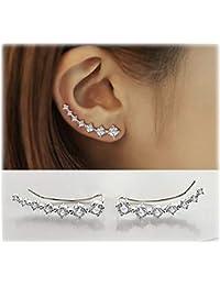 7 Crystals Ear Cuffs Hoop Climber S925 Sterling Silver Hypoallergenic Women Earrings