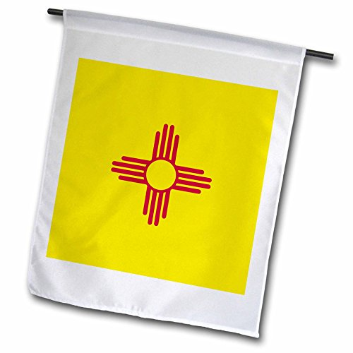 3dRose InspirationzStore Flags - Flag of New Mexico - US American United State of America USA - red sun symbol of the Zia on yellow - 12 x 18 inch Garden Flag (fl_158391_1)
