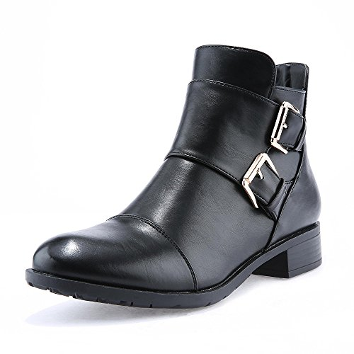 Womens Buckle Ankle Booties Side Zipper Cut Out Pointed Toe Non-slip Plain Color Western Shoes (Ankle Boots Side Zipper)