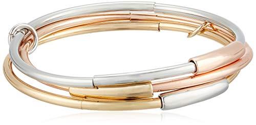 Kenneth Cole New York Women's Tri-Tone Tube Stretch Bangle Bracelet Set, One Size