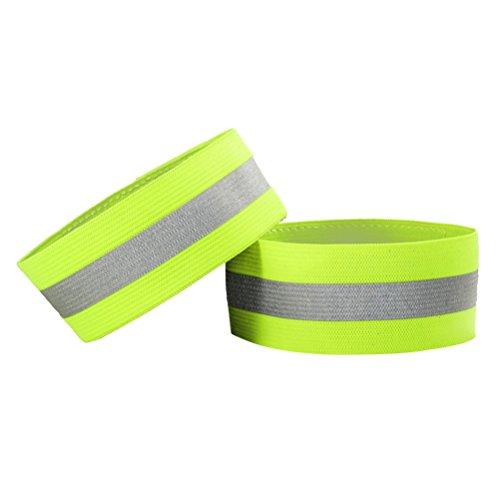 WINOMO 2PCS Elastic Reflective Safety bands Flashing Wristbands for Running Walking Cycling