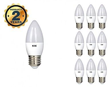 KDE - Bombilla LED Vela 7W - E27 - Luz cálida - 3000K - 560 lúmenes - 10UD - Eficiencia energética A+: Amazon.es: Iluminación