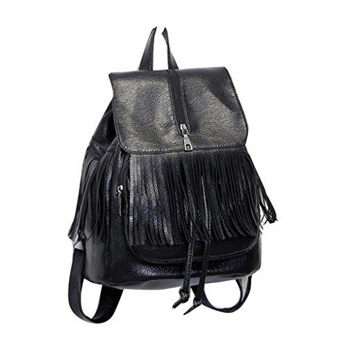 Tassel zaino donne da viaggio in pelle borsa a tracolla Zaino scuola,Fami (viola)