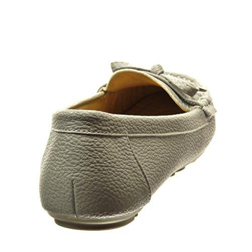 Angkorly - Chaussure Mode Mocassin slip-on femme noeud métallique Talon plat 0 CM - Gris
