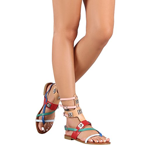 CAPE ROBBIN Womens Open Toe Strappy Ankle Cuff Colorblock Hardware Gladiator Flat Sandals, Colorful 8.5
