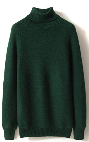 LONGMING Women's Winter Cashmere Turtleneck Sweater Long Sleeve Knitted Warm Wool Pullover Tops (S, Green)