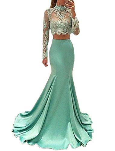 Sweet Bridal Women's Long Sleeve Dress for Graduation High Neck Mermaid 2...