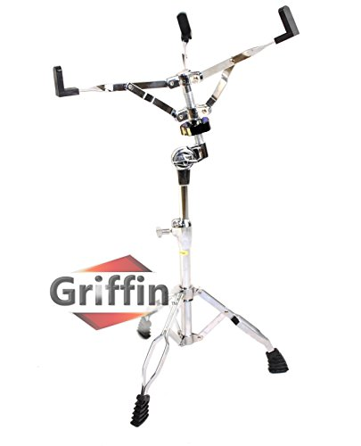 Leg Snare Drum Stand (Snare Drum Stand by Griffin | Deluxe Percussion Hardware Base Kit with Key | Double Braced, Light Weight Mount for Standard Snare and Tom Drums|Slip-Proof Gear Tilter| Sturdy Clamp Style Basket Holder)