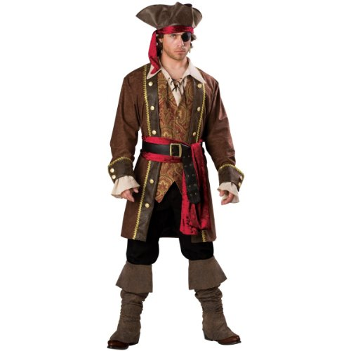 InCharacter Costumes Men's Captain Skullduggery Pirate Costume, Brown, Large ()