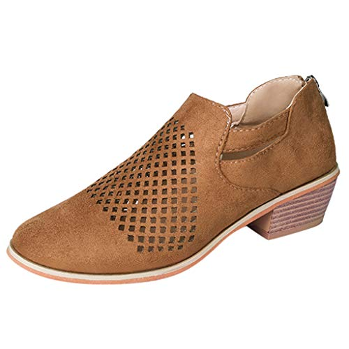 (LONGDAY ⭐ Women Boots Spring Ankle Hollow Out Leather Shoe Ankle Heeled Mid Heel Bootie Closed Toe Leather Boot Slip On Brown)