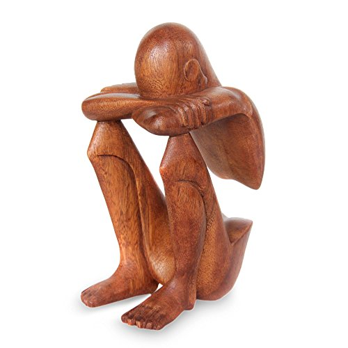 NOVICA 31179 Brown Thought And Meditation Wood Sculpture, 7.75