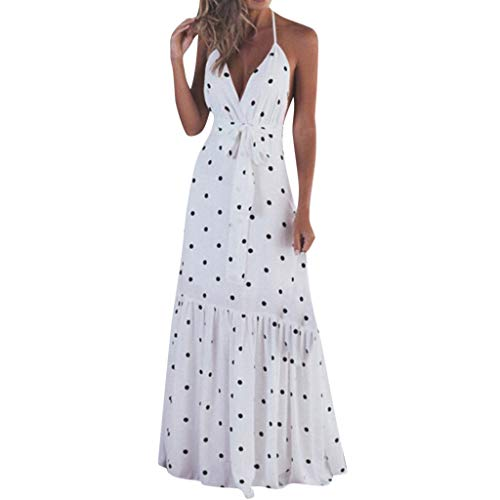 - Qingell Women Dot Printed Maxi Dress V Neck Sleeveless Sundress Printed V Neck Strappy Long Summer Dresses White