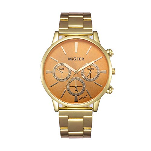 (vmree Men Classic Stainless Steel Band Analog Quartz Wrist Watch Mature Date Hours Business Casual Watches Bracelet Clock Ideal Gift (Gold) )