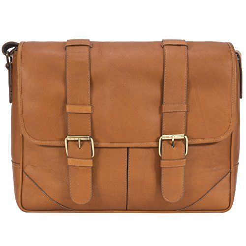 Luggage Depot USA, LLC Muiska Leather Dublin 15'' Messenger Shoulder Pc Sleeve Laptop Briefcase, Saddle, One Size by Luggage Depot USA, LLC