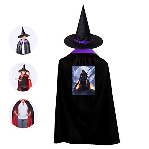 Tnilsk Kids Fantasy Halloween Party Graphic Halloween Cloak with Hat Reversible Witch Christmas Party Robe Cosplay Costume]()