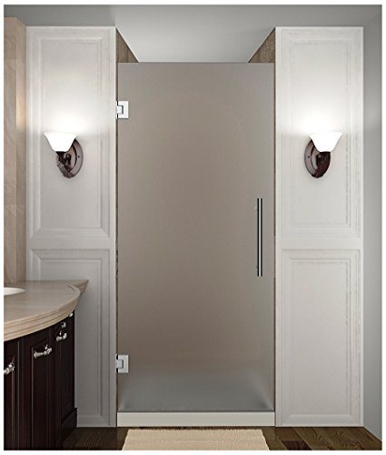 (Aston Cascadia Completely Frameless Hinged Shower Door in Frosted Glass, 32