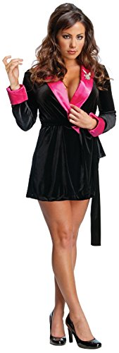Playboy Costumes - Secret Wishes Women's Playboy Hef Smoking Jacket Costume, Black/Pink, Large