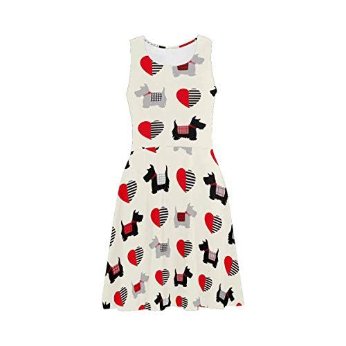 InterestPrint Women's Casual Sundresses Scottie Dogs Sleeveless Scoop Neck Dresses 3XL ()