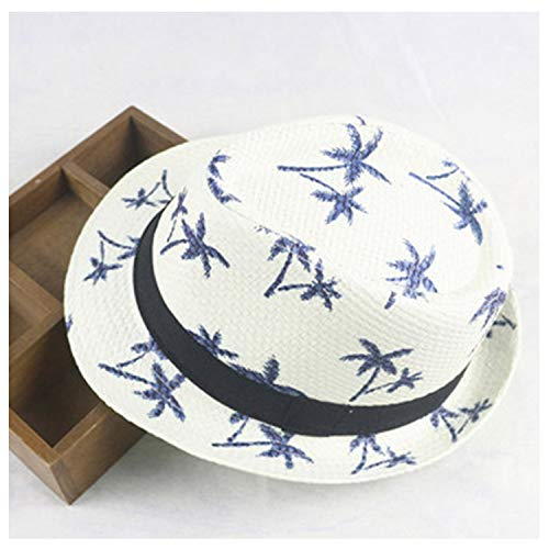 Summer 100% Parent-Child Straw Hats for Adult & Kids Children Panama Hat Coconut Tree Jazz Caps Casual Beach Visor Sun Hat,WT,Kid Size]()