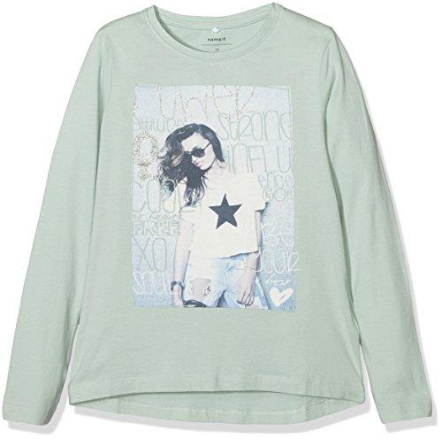 NAME IT Mädchen T-Shirt Nitlapippi LS Top Box Nmt Ger, Grün (Harbor Gray), 140 (Herstellergröße: 134-140)