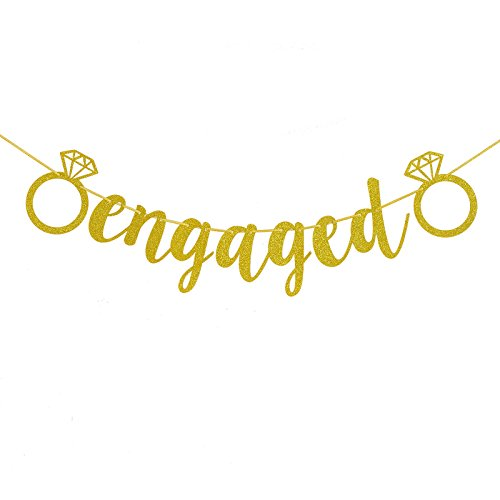 FECEDY Engaged Banner Gold Glittery Letters and Diamond Ring for Party Decorations -