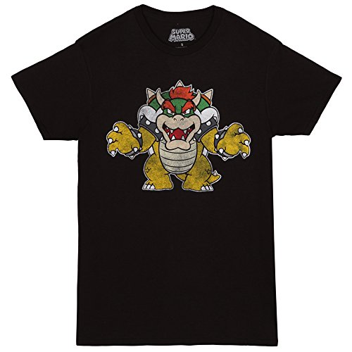 Super Mario Distressed Bowser Adult T-shirt - Black (Medium)