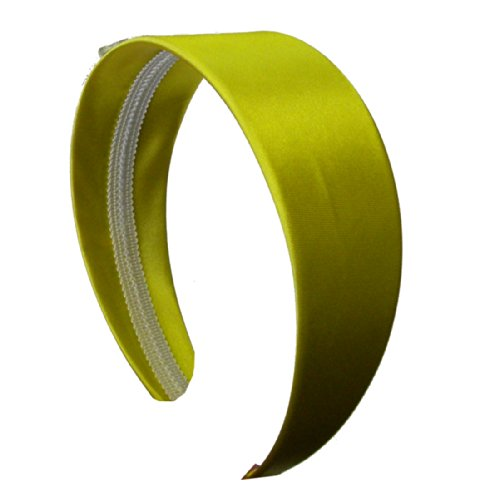 Yellow 2 Inch Wide Satin Hard Headband with No Teeth Head band for Women and Girls (Keshet Accessories)