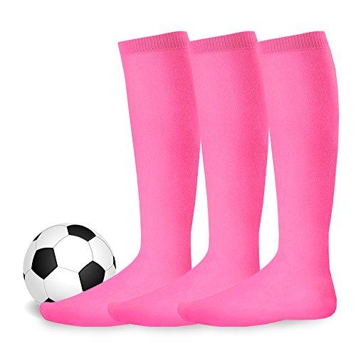 Soxnet Acrylic Unisex Soccer Sports Team Cushion Socks 3 Pack (Youth (5-7), Hot Pink)