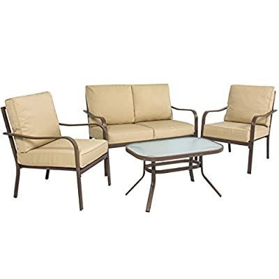Best Choice Products 4-Piece Cushioned Metal Conversation Set w/ 2 Chairs and Glass Top Coffee Table, Beige - 4-PIECE OUTDOOR SET: Ideal for any poolside, patio, porch, or garden, this conversation set comes complete with 2 chairs, a loveseat, and a coffee table COMFORTABLE CUSHIONS: Complete with water-resistant cushions made of soft polyester, promoting hours of optimal comfort DURABLE COMPOSITION: Made with steel framing and a tempered glass top coffee table to resist damage and allow for easy cleaning - patio-furniture, patio, conversation-sets - 41Jx4F4P5QL. SS400  -