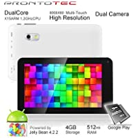 Prontotec 7 Inch Android Tablet Pc, Dual Core 1.2GHz, Android 4.2.2, 4G Rom, Ddr3 512M Ram, Dual Cameras, Standard USB Port, Wi-fi, G-sensor (White)