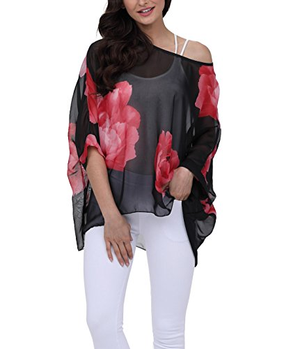 - iNewbetter Womens Chiffon Poncho Batwing Sleeve Sexy Floral Print Summer Tunic Tops 283 One Size