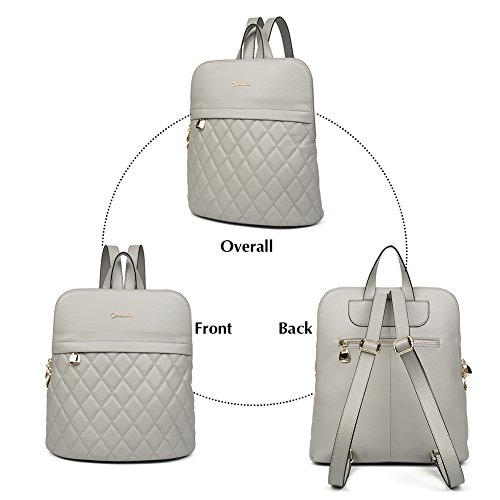 Women Fashion BOSTANTEN School lightgray Leather 1 for Casual Purse Geniune Backpack Bags aTzRzqwH