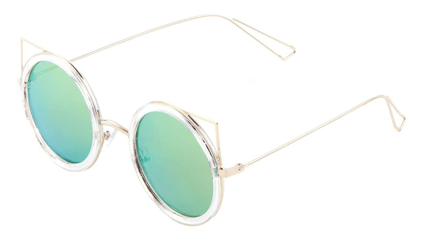 Sunglasses Luxe. Metal Round Cat Eye Sunglasses. (CLEAR YELLEW GREEN)