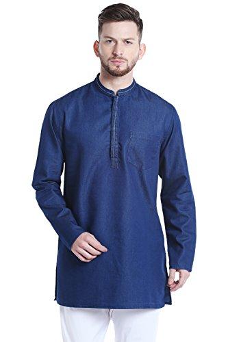 Shatranj Men's Mandarin Collar Mid-Length Denim Blue Indian Kurta Tunic; Denim Blue; - Model Indian Man