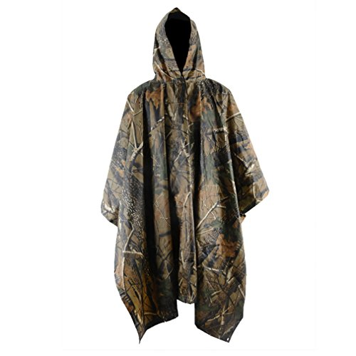 LOOGU Camo Poncho, Waterproof Rain Poncho Camouflage Rain Coat Outdoor Camo Shelter Ground Sheet