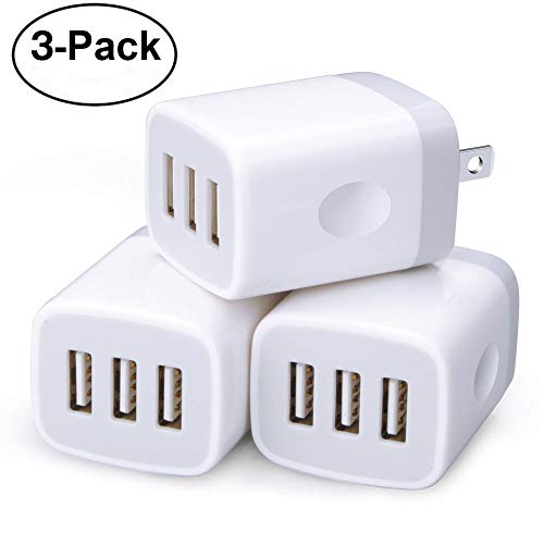 - Wall Charger,3 Pack Sicodo 3-Muti Port USB Travel Wall Charger 5V 3.1A Output Portable Wall Charger Plug Power Adapter Compatible with iPhone X/8/7,iPad,Samsung Phones and More