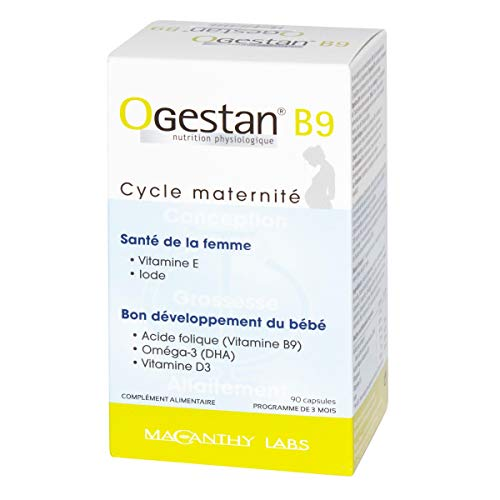 Ogestan Maternity Cycle 90 Capsules/Food Supplement for Pregnancy and Breastfeeding Period - Nutritional Balance - Omega 3 - Iodine - Folic Acid - Vitamins D3 and E - DHA - Belgium